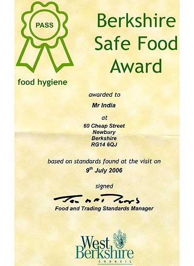 Berkshire Safe Food Certificate