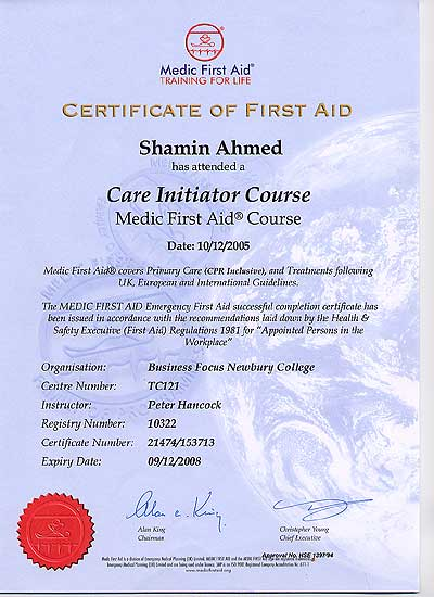 Mr India First Aid Certificate