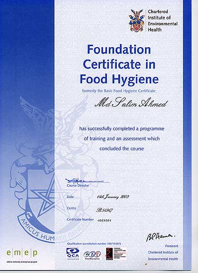 Mr India Foundation Food Hygiene Certificate